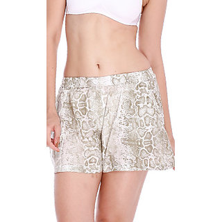 Clovia Chic Printed Shorts In Muted Green