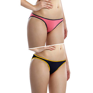 Clovia Set Of 2- Comfy Cotton Briefs In Pink And Blue