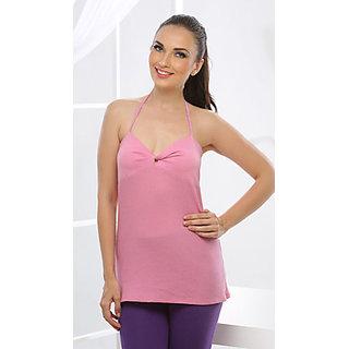 Clovia Cotton Knit Halter Style Cami In Pink