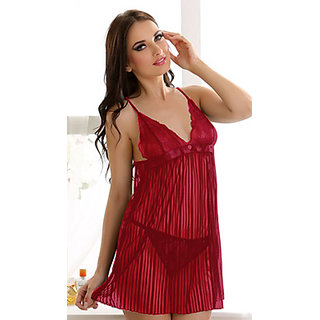 Clovia Fashion Stripe Night Slip In Maroon
