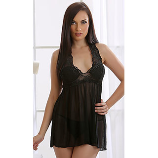 Clovia Lacy Halter Nightdress In Black