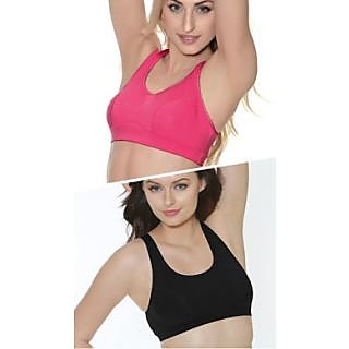 Clovia Set Of 2-Cotton Sports Bra In Pink And Black