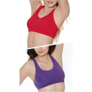Clovia Set Of 2-Cotton Sports Bra In Red And Purple