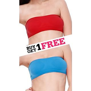 Clovia Set Of 2- Non Slip Seamless Tube Tops In Red And Turquoise