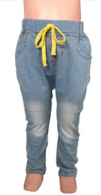 Habooz blue colour denim jeggings with Elasticated Waist for kids