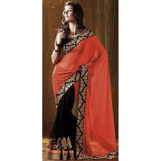 Festival Wear Designer Orange Saree