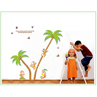 Asmi Collections PVC Stickers Coconut Tree Monkey Butterfly Wall Sticker