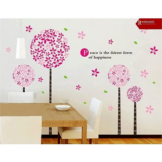 Asmi Collections PVC Stickers Pink Blossom Tree Wall Sticker(XY8022)