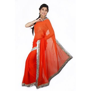 Mirror And Bullion Work Border Saree