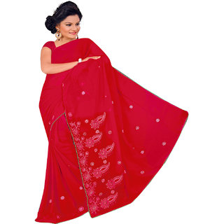NEARSHOP Artistic Red Color Fancy Georgette Saree