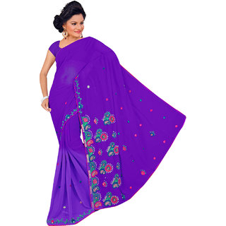 NEARSHOP Glitzy Purple Color Fancy Georgette Saree