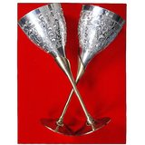 Silver Plated Pure Brass Designer Antique Wine Glass (set Of Two)