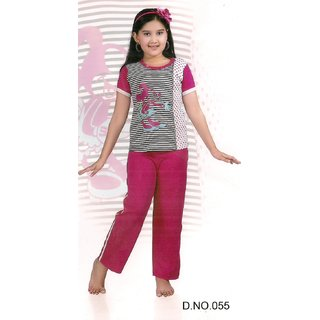 Kids 2p Sleep Wear Top  Pajama 055 Pyjama Set Night Fun Bed Pink Lounge Girl 8y