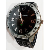 Round Dial Black Fabric Strap Mens Watch