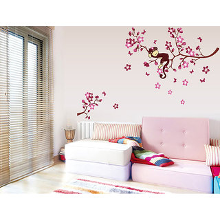 Asmi Collections Pink Branches Monkey Wall Sticker AY7020