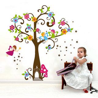 Asmi Collections PVC Stickers Kids Angle Tree Wall Sticker JM7158