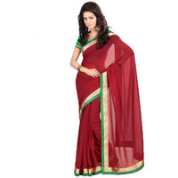 florence clothing company Red Georgette Self Design Saree With Blouse
