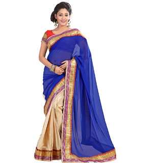 Florence Blue  Beige Art Silk Embriodered Saree