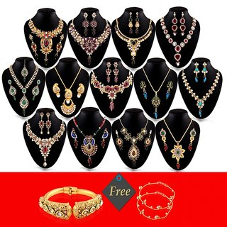 Shital Jewellery 1 Gram Gold Plated 13 Jewellery Set with FREE Kada  Payals