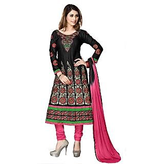 Florence Black Mircale Cotton Embroidered Suit (Unstitched)