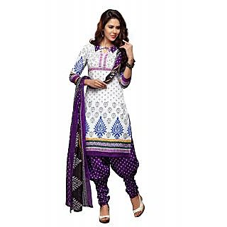 Florence White Ganesha Vol-10 Cotton Printed Suit (Unstitched)