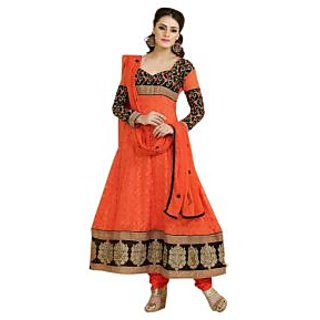Florence Orange Janu Georgette Embroidered Suit (Unstitched)
