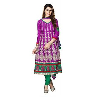 Florence Purple Mircale Cotton Embroidered Suit (Unstitched)