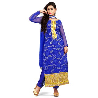 Florence Blue Rossel Net Embroidered Suit (Unstitched)
