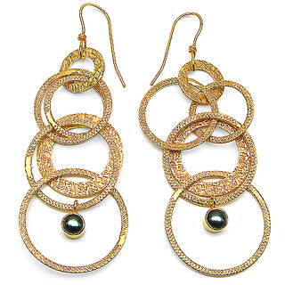16.40 Grams Black Synthetic Pearl Gold Plated Brass Earrings