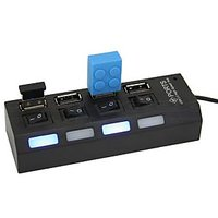 High Speed Power Strip Style 4 Port Ports USB 2.0 Hub With Individual On/Off Switches
