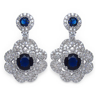 9.40 Grams Blue Cubic Zirconia & White Cubic Zirconia.925 Sterling Silver Earrings