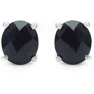 1.76CTW Genuine Sapphire .925 Sterling Silver Oval Shape Earrings