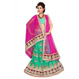 Fch Rama Nylon Bright Net Designer Lehenga Saree With Unstitched Blouse Piece (FCH_1st-1002)