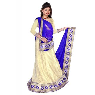 Fch Chikoo Nylon Bright Net Designer Lehenga Saree With Unstitched Blouse Piece (FCH_1st-2001)