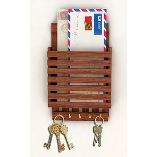 Ganeshaas Wooden Key Holder And Letter Rack