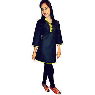 Black short kurti with yellow piping