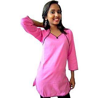 V neck Pink short kurti