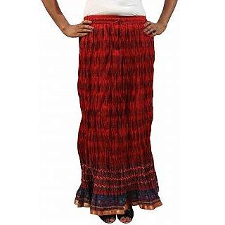 Saffron Craft Cotton Printed Red Skirt