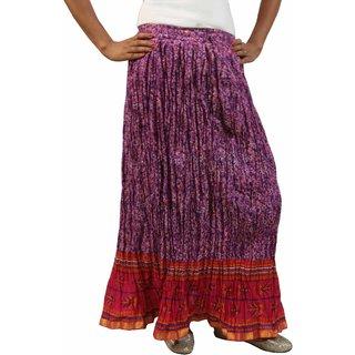 Saffron Craft Cotton Printed Purple  Pink Skirt