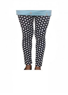 Raabta White Polka Printed Dotted Lycra Leggings