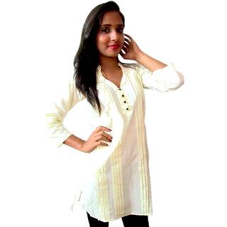 V neck Off White short kurti