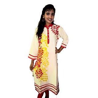 collar neck White Long kurti