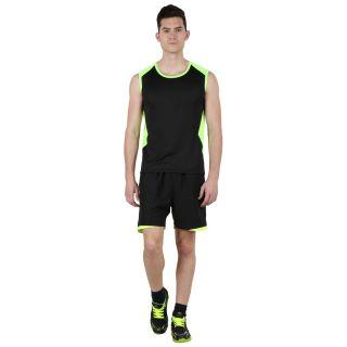 Klamotten Black & Green Sleeveless Sports Tee Js01