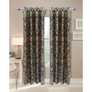 Homefab Set of 2 Elegence Brown Door Curtain(HF113)