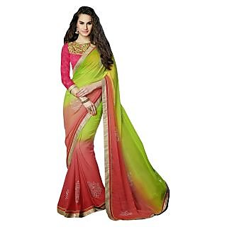 Triveni Green Chiffon Lace Saree With Blouse