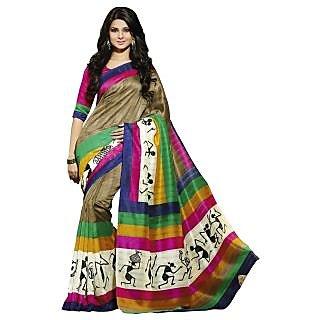 Triveni Multicolor Bhagalpuri Silk Printed Saree With Blouse