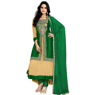 Florence Cream with Green Raja Tex Georgette Embroidered Suit