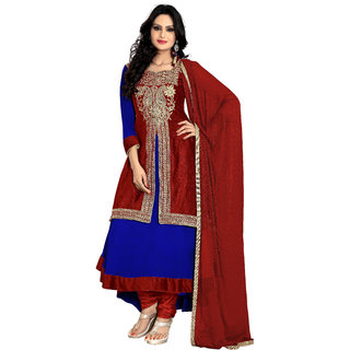 Florence Blue with Red Raja Tex Georgette Embroidered Suit