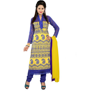 Florence Yellow  Blue Jhalak Cotton Embroidered Suit