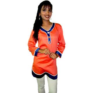 Round neck Orange short kurti